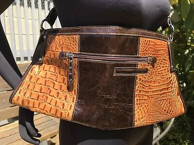 $25.50 • Buy M.C. Marc Chantal Hand Bag Purse Hobo Faux Leather Alligator Woven Browns