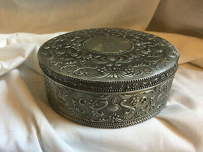 £28.89 • Buy VINTAGE Silver Color Pewter Large Oval Ornate Embossed Engraved Jewellery Box