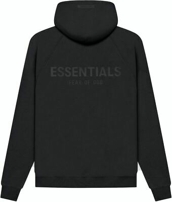 £100 • Buy FEAR OF GOD ESSENTIALS Kids Pull-Over Hoodie Black/Stretch Limo Large