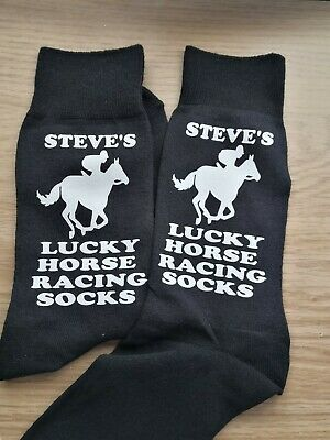£5.75 • Buy Mens Personalised YOUR Name Horse Racing Lucky Socks Birthday Fathers Day Gift