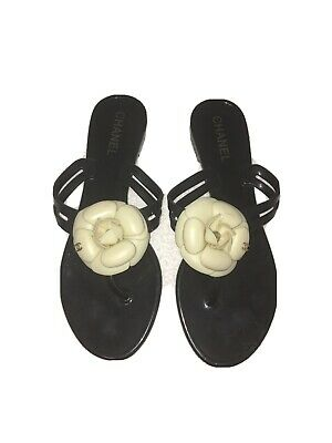 £275 • Buy CHANEL Camellia Sandals Black White Flower Thong Flats Size Uk 5 Jelly