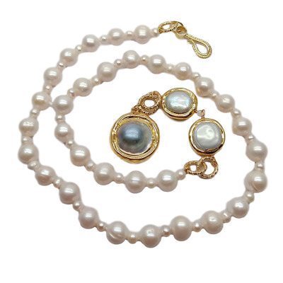 $19.99 • Buy 21  Cultured White Pearl Necklace Mabe Pearl Pendant