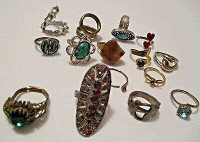 $ CDN12.17 • Buy 15 Vintage Costume Fashion Jewelry Rings ~ Great Mixed Lot