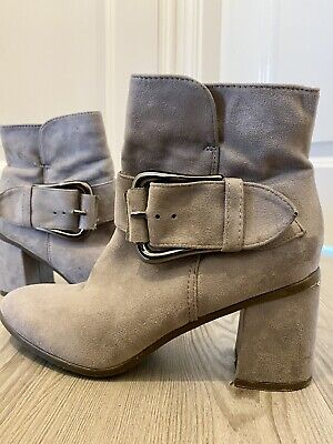 £4.20 • Buy Grey Heeled Suede Ankle Boots Size 6 Ladies Ankle Boot Heels New Look