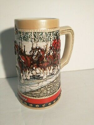 $ CDN24.36 • Buy Budweiser Holiday Clydesdales Beer Stein 1988 Collector's Series Cup Mug