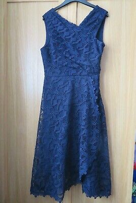 £55 • Buy Reiss Rayna Wrap Front Lace Dress Navy Blue Size 12 Prom / Occasion Dress
