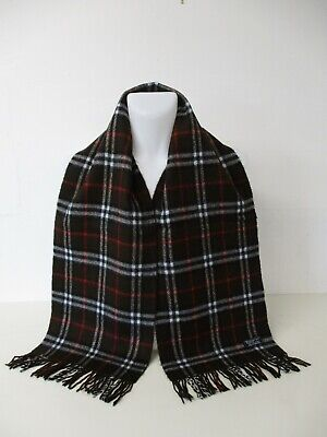 £30 • Buy BURBERRY SCARF, 100% Cashmere, Reversible Brown, Red Nova Check, 66  X 11.5