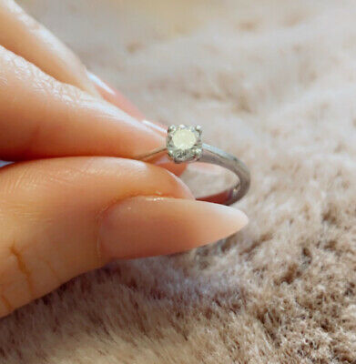 £200 • Buy 18ct White Gold (.35ct ) Diamond Solitaire Brilliant Cut Ring Size M ( 3.2 G )