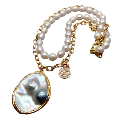 $26.99 • Buy 18  Freshwater White Rice Pearl Chain Necklace Gray Mabe Pearl Pendant