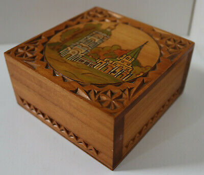 £15 • Buy Vintage Hand Made Marquetry Wooden Box Antique Trinket Jewellery Carved Chest 16