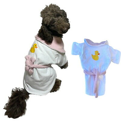 £10.56 • Buy Dog Bathrobe White Pink S M Dry After Bath Coat Towel Absorbent Beach Grooming