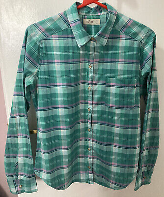 £7.99 • Buy Ladies Size Small (S) Hollister Check Shirt Blouse Top 100% Cotton Green Pink