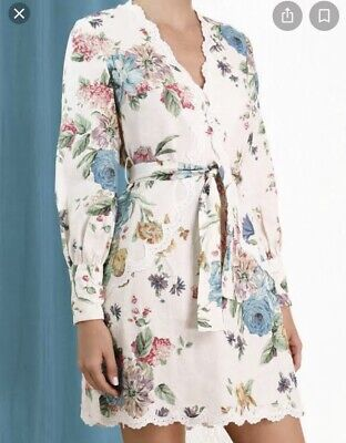 AU290 • Buy Zimmerman Ninety-six Scallop Dress In Cream Blossom Floral Size 2
