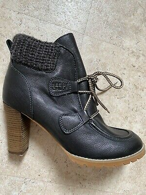 £25 • Buy Designer See By Chloe Boots Size 6 Black Leather High Heel Lace Up Ankle Boots