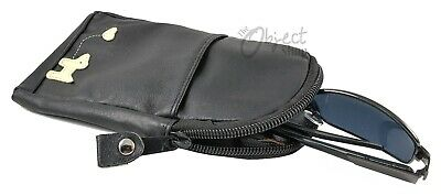 £3.50 • Buy Black Leather Soft Glasses Case With Little Dog Motif Zip Top And Front Pocket