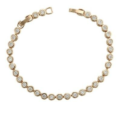 £12.99 • Buy 18ct Gold Filled Tennis Bracelet Made With Swarovski® Elements By AT Jewellery