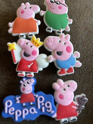 £3.95 • Buy 6 New Jibbitz Flexible Silicone Shoe Charms PEPPA PIG & FAMILY Crocs Sandals
