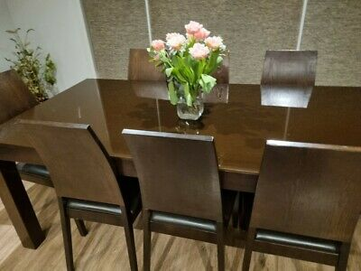 AU150 • Buy Dining Table & 8 Chocolate Brown Leather Chairs (Brown Glass Top) MUST GO TODAY!
