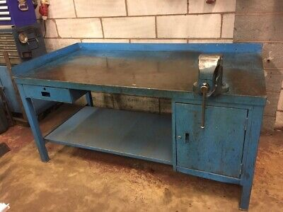 £315 • Buy Solid Steel Metal Work Bench Heavy Duty With Record Vice Quick Release No 23