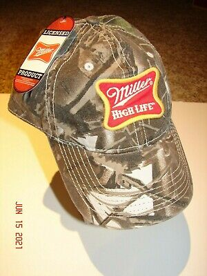 $16 • Buy MILLER HIGH LIFE BEER Camo Men's One Size Baseball HAT Cap By ANOMA 2008 *NWT*