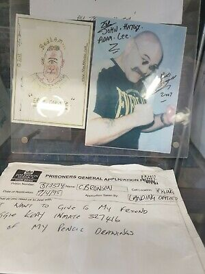 £1500 • Buy Charlie Bronson Letters Signed Pictures Drawings Lot 1995