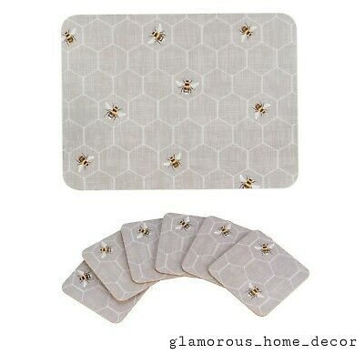 £17.99 • Buy Set Of 6 Grey Bumble Bee Placemats & 6 Matching Coasters New