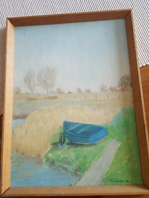 £5 • Buy Oil Landscape With Rowing Boat