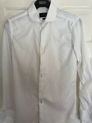 £4 • Buy Paul Costelloe, White Shirt, Size 15 Inch Collar, Slim Fit, Double Cuff