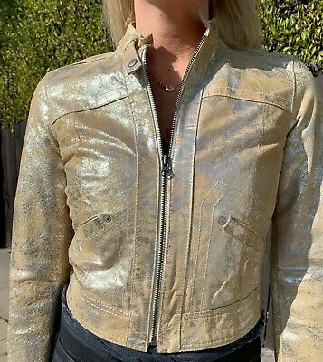 £35.49 • Buy Distressed Gold Fitted Leather Jacket Gap Sz Xs