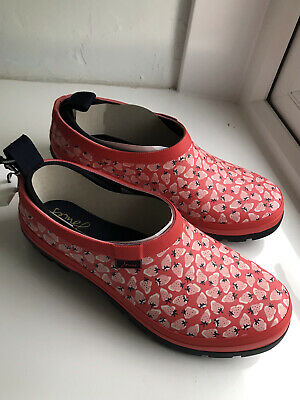£33 • Buy Joules Womens Slip On Welly Clogs Size 6 Colour Red Mini Strawberry