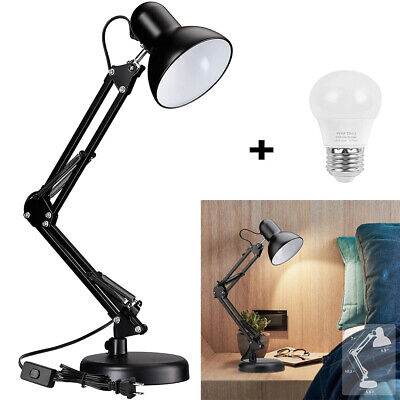 £15.99 • Buy Metal Swing Arm Desk Lamps With LED Bulb Clamp Adjustable Table Lamp For Bedroom