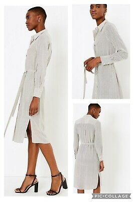 £35 • Buy Marks And Spencer Autograph Pure Silk Belted Shirt Dress Size 12 Ivory Mix Bnwt