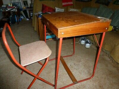 £18 • Buy Vintage Children's School Desk With Matching Folding Chair And Ink Well
