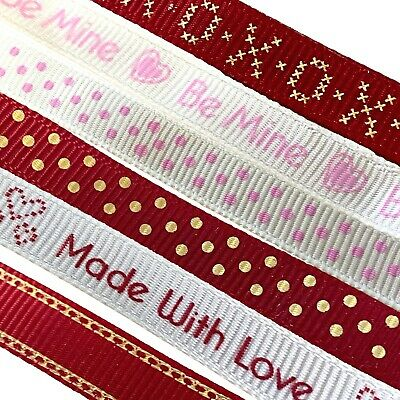£1.25 • Buy Dovecraft 10mm Ribbon Handmade With Love Celebrate Hearts Red Pink Valentines