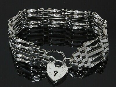£41 • Buy Sterling Silver 5 Bar Gate Bracelet With Padlock & Safety Chain (80.21.172)
