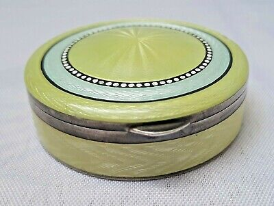 £72.43 • Buy Antique Solid Silver 935 Guilloche Enamel Yellow Little Round Case Box Compact
