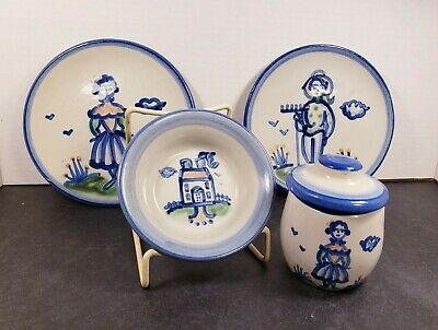 $75 • Buy M. A. Hadley Pottery Stoneware LOT Of  4 Pieces Country Pattern