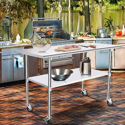 £147.69 • Buy Stainless Steel Commercial Kitchen Work Food Prep Table W/ 4 Casters 24  X 48