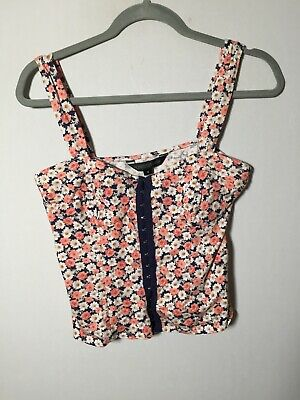 AU19.95 • Buy Forever New Womens Colourful Floral Cami Tank Top Singlet Size 12 Stretch Cotton