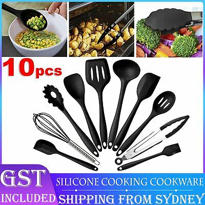 AU22.99 • Buy 10Pcs/Set Silicone Utensils Nonstick Cooking Cookware Gadget Spoon Kitchen Tools