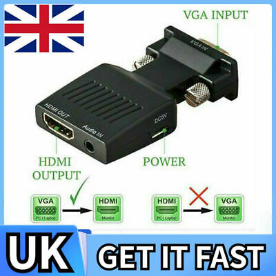 £5.99 • Buy VGA Male Input To HDMI Female Output 1080P Audio Video Cable Converter Adapter