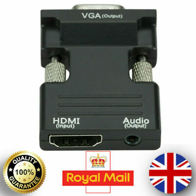 £5.99 • Buy VGA Male To HDMI Female Converter Adapter 1080P Output HDTV Audio Video Cable UK