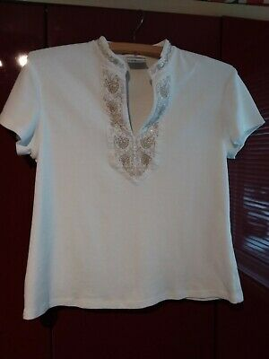 £2.99 • Buy NEXT White Mandarin Collar T-Shirt With Beige Embroidery And Sequin Neck Detail