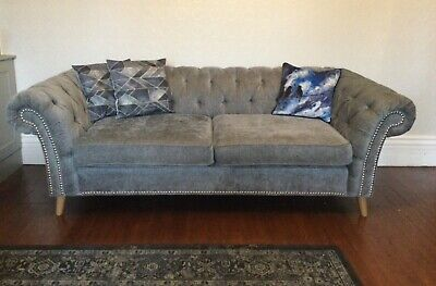 £650 • Buy Next Gosford Buttoned Back Studded Medium Sofa In Charcoal. Pre-Loved. RRP £1375