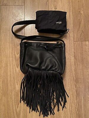 £50 • Buy Maje Black Leather Shouder Bag With Fringe Detail In Immaculate Condition