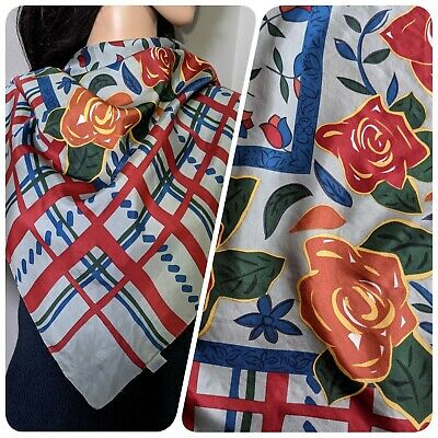 £19.99 • Buy Vintage Clothkits Floral Rose Checked Large Silk Scarf 34