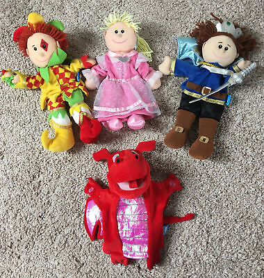 """£20 • Buy Fiesta Crafts Prince, Princess, Jester With Bell & Red Dragon 14"""" Hand Puppets"""