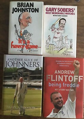 £8 • Buy Four Cricket Books Autobiography Brian Johnston Gary Sobers Andrew Flintoff