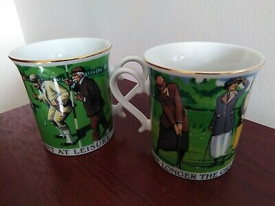 £4 • Buy Pair Of Porcelain Past Times Golfers Mug.. . His And Hers.. Never Used