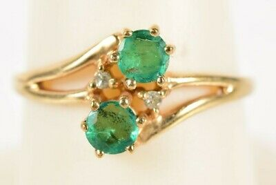 AU456.66 • Buy Mid-Century Modernist 10K Yellow Gold Diamond And Emerald Ring Size 7-3/4